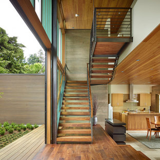 Incroyable Inspiration For A Contemporary Wooden U Shaped Open And Metal Railing  Staircase Remodel In Seattle