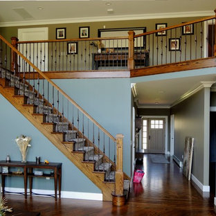 Staircase - large craftsman wooden straight mixed material railing staircase idea in New York with wooden risers