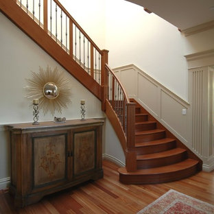 Staircase - craftsman wooden staircase idea in San Francisco with wooden risers