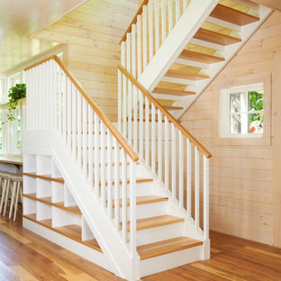 Classic staircase in Minneapolis with open risers.