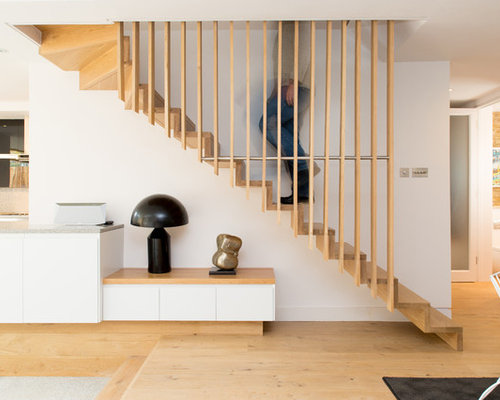 Inspiration For A Scandinavian Wood Floating Staircase In London With Wood  Risers.
