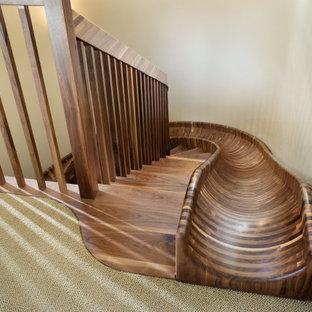 Esempio di un'ampia scala curva eclettica con pedata in legno, nessuna alzata e parapetto in legno