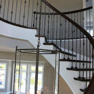 Ejemplo de escalera de caracol, costera, extra grande, con escalones de madera, contrahuellas de madera y barandilla de varios materiales