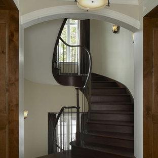 デトロイトの巨大な木のトラディショナルスタイルのおしゃれならせん階段 (木の蹴込み板、木材の手すり) の写真