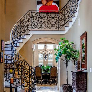ジャクソンビルの広い木の地中海スタイルのおしゃれなサーキュラー階段 (金属の手すり、タイルの蹴込み板) の写真