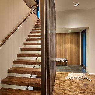 シアトルの木のミッドセンチュリースタイルのおしゃれな階段の写真