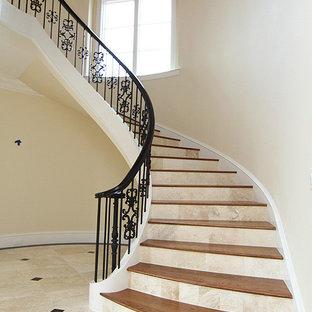 ローリーの広い木のトラディショナルスタイルのおしゃれなサーキュラー階段 (ライムストーンの蹴込み板、金属の手すり) の写真