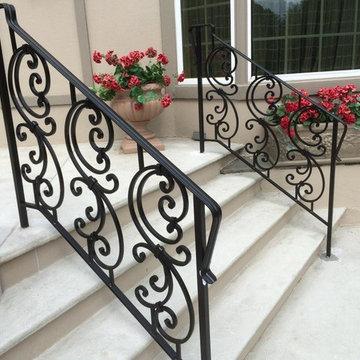 Custom Made Wrought Iron Exterior Step Rail and Patio Enclosure