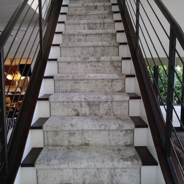 Custom Runner on Wood Stairs
