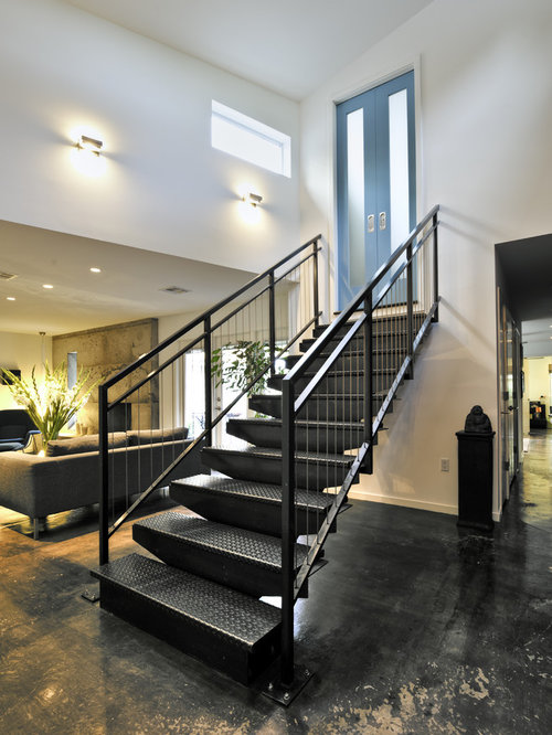 Metal stairs houzz for Stair remodel houston