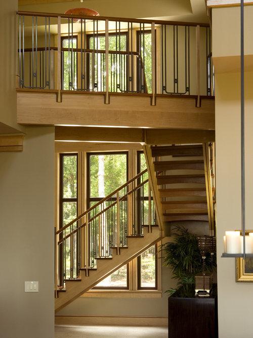 Contemporary Wooden Staircase Idea In Atlanta