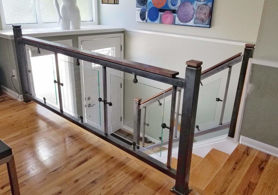 Custom Steel and Glass Stair Rail