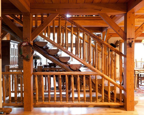 Rustic Log Railing ~ Log stairs home design ideas pictures remodel and decor