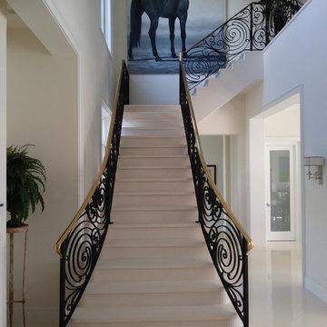 Custom wool stair runner over marble steps.