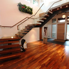 Contemporary Staircase by Workhorse Carpentry