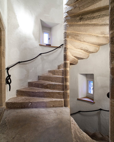 Rustic Staircase by Maxwell & Company Architects