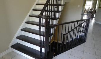 Dark hardwood stairs white risers - Burlington Ontario