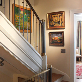Staircase - mid-sized traditional wooden straight staircase idea in DC Metro with wooden risers