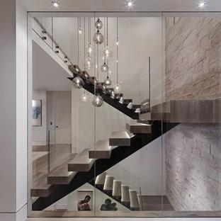ロサンゼルスの木のコンテンポラリースタイルのおしゃれな階段 (ガラスの手すり) の写真