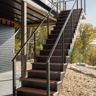 Deck Staircase with Black Posts and Cables