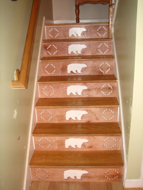 Decorating stair risers houzz - Stair riser decoration ideas ...