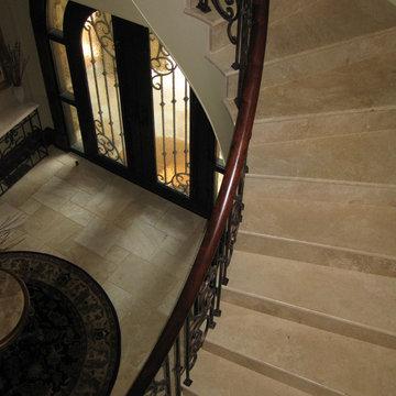 Denizli Beige Antique Pattern-Custom cut stairs
