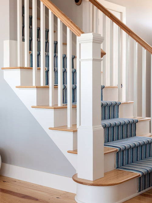 Mid Sized Beach Style Wooden Straight Staircase Idea In Boston