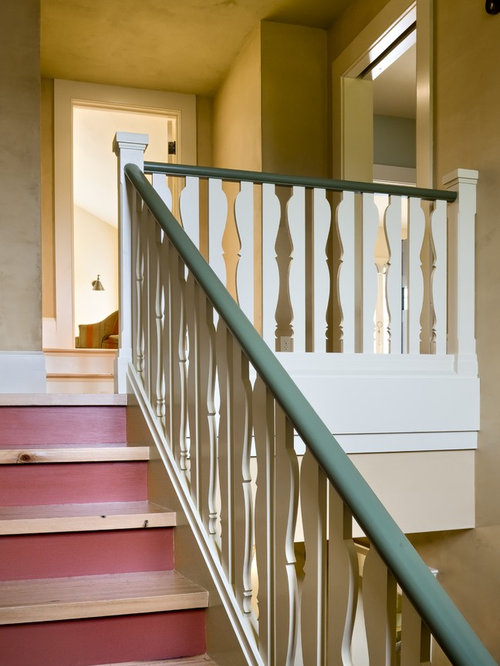 Example Of A Classic Wooden Wood Railing Staircase Design In Burlington