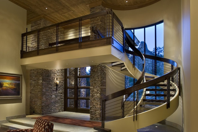 Contemporary Staircase by R.J. Gurley Custom Homes