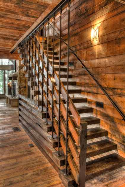 Rustic Staircase by Lands End Development - Designers & Builders