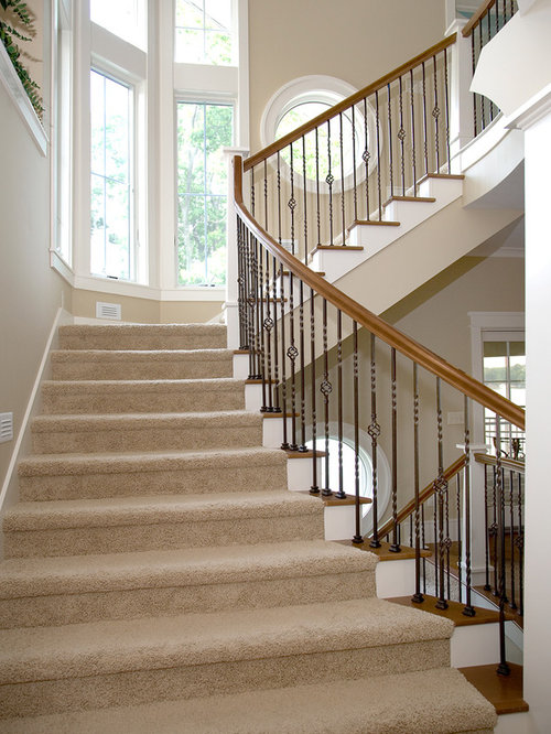 Craftsman Curved Staircase Design Ideas Remodels Photos