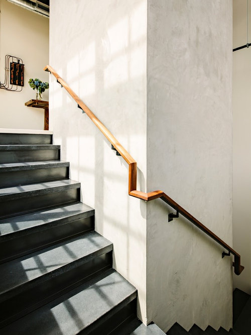 Attractive Inspiration For An Industrial Concrete Staircase Remodel In Portland
