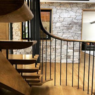 Ejemplo de escalera curva y boiserie, retro, grande, sin contrahuella, con escalones de madera, barandilla de metal y boiserie