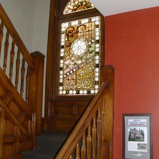 Идея дизайна: лестница среднего размера в стиле фьюжн