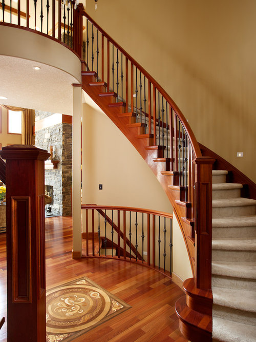 Double curved stairs home design ideas pictures remodel for Double curved staircase
