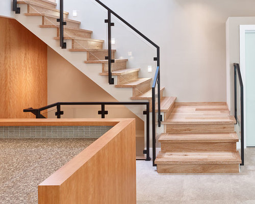 Example Of A Small Minimalist Wooden L Shaped Staircase Design In Vancouver