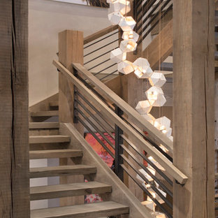 Example Of A Mountain Style Wooden U Shaped Open And Cable Railing Staircase  Design In