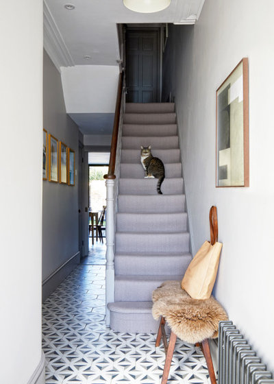 Transitional Staircase by FIONA DUKE INTERIORS