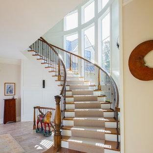 Ejemplo de escalera curva, de estilo americano, grande, con escalones de madera, contrahuellas de madera pintada y barandilla de varios materiales
