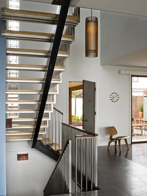 Example Of A Minimalist Open And Metal Railing Staircase Design In San  Francisco