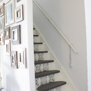 Eclectic painted straight staircase photo in Amsterdam with painted risers