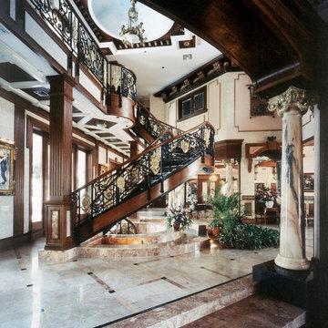 Eclectic Mediterranean Victorian Interior Design Foyer w Stairway
