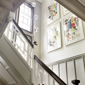 Eclectic Modern Tudor Entry Stair