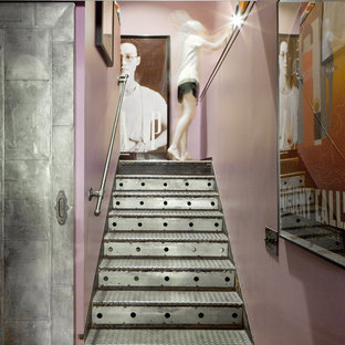 Eclectic metal staircase photo in New York with metal risers