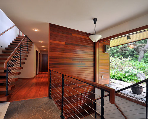 Mid Sized Contemporary Wooden Floating Mixed Material Railing Staircase  Idea In Seattle