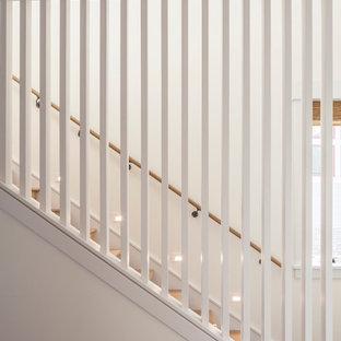 Idee per una scala a rampa dritta moderna di medie dimensioni con pedata in legno e alzata in legno