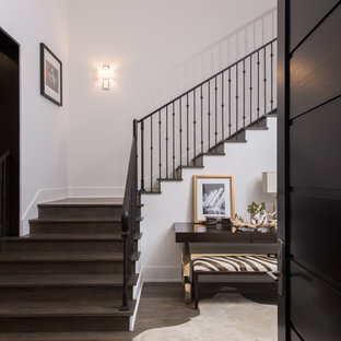 Example of a classic wooden l-shaped staircase design in Los Angeles with wooden risers