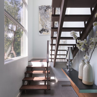 Mid-sized trendy wooden u-shaped open and wood railing staircase photo in Los Angeles