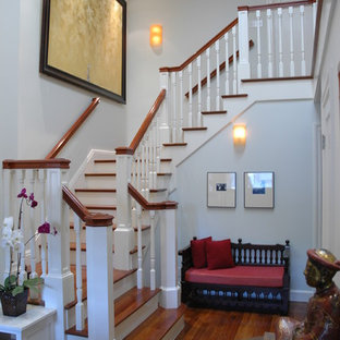 Staircase - traditional wooden wood railing staircase idea in San Francisco with painted risers