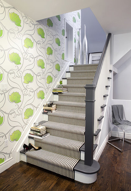 Energize your stairway with a carpet runner decked in stripes to ...